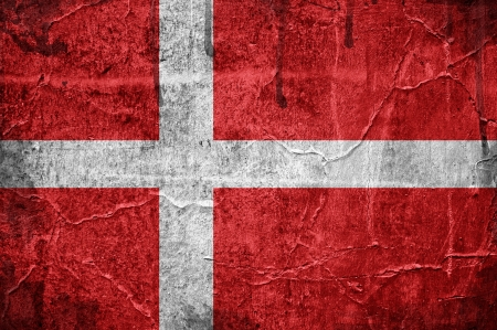 Flag of Denmark overlaid with grunge texture