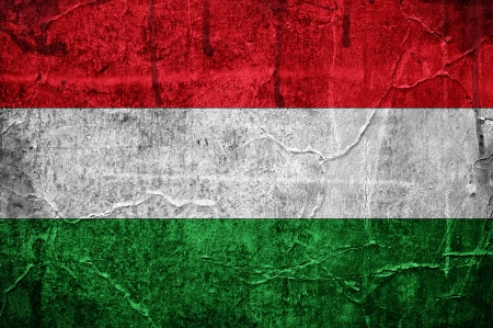 Flag of Hungary overlaid with grunge texture