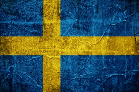 Flag of Sweden overlaid with grunge texture