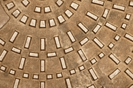 Cast iron manhole  background or texture