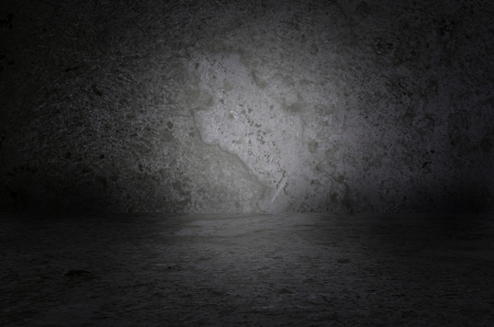 Empty room with concrete wall and concrete floor  Dark background interior