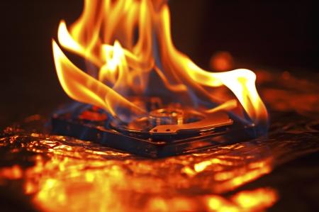 Hard disk failure  Computer hard disk on fire, burning in flames  Computer crash