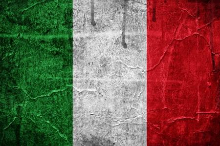 italy flag: Bandera de Italia superpuesta con textura grunge