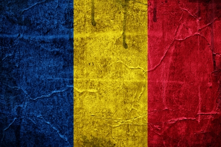 Flag of Romania overlaid with grunge texture photo