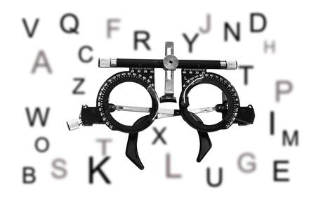 diopter: El marco para ajustar el objetivo de optometr�a optometrista dioptr�as Foto de archivo