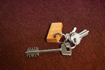 Set of silver house keys Stock Photo