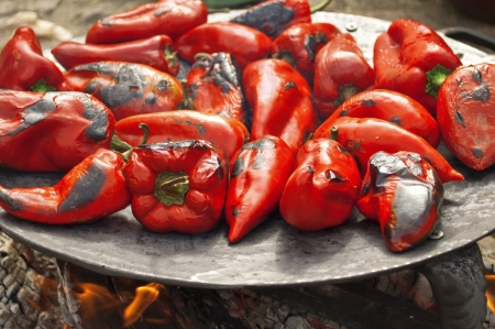 red chilly: Roasted red peppers on the barbecue