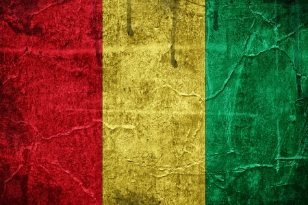 Flag of Guinea, image is overlaid with grunge texture