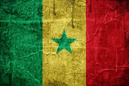 Flag of Senegal, image is overlaid with grunge texture Stock Photo