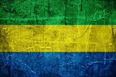 gabon: Flag of Gabon overlaid with grunge texture Stock Photo