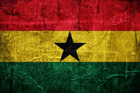 Flag of Ghana overlaid with grunge texture