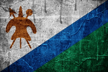 Flag of Lesotho overlaid with grunge texture Stock Photo