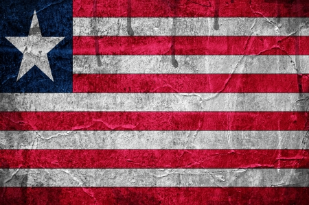 Flag of Liberia overlaid with grunge texture photo