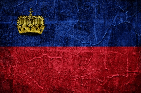 Flag of Liechtenstein overlaid with grunge texture