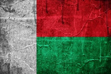 Flag of Madagascar overlaid with grunge texture Stock Photo