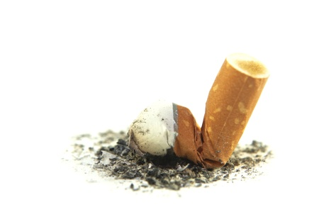 Cigarette butt with ash isolated on white background  Quit smoking concept  Stock Photo