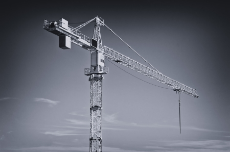 Huge industrial crane, black and white image  photo