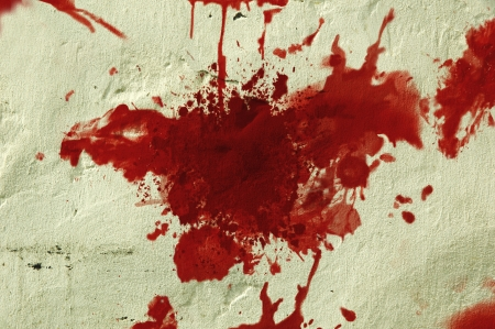 Red blood splatter on a grunge wall  photo