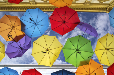 Colorful umbrella street decoration, Belgrade streets, Serbia.