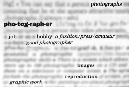 Dictionary words and phrases relating to photography, brured background Stock Photo - 30545427