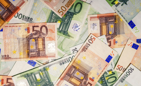 Set of euro banknotes isolated on white background. Stock Photo