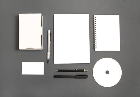 Blank stationery set : business cards, booklet, sheets, notebook, CD, boxes and pencil.