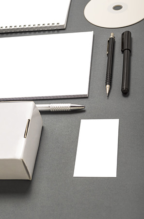 Blank stationery set : business cards, booklet, sheets, notebook, CD, boxes and pencil. photo