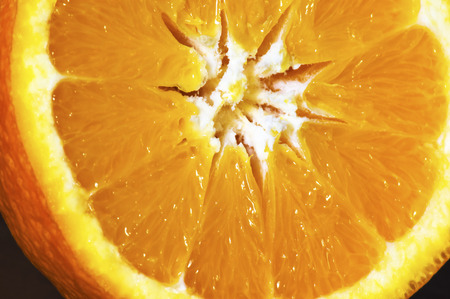 Macro detailed view of sliced orange fruit
