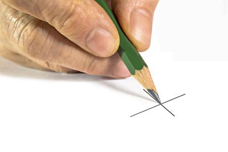 illiterate: Closeup image of signature X Stock Photo