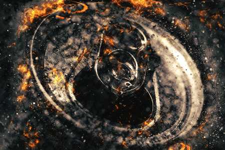 aluminum can: Top part of aluminum can, fire illustration Stock Photo