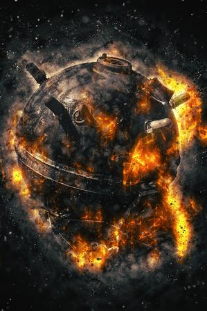 bomb explosion: Naval mine, fire illustration Stock Photo