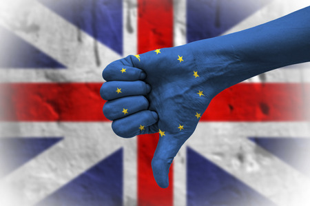 Referendum on United Kingdom membership of the European Union. Hand with thumb down.