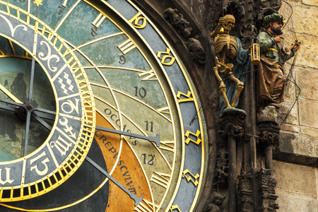 czech culture: Astronomical Clock in Prague, Czech Republic. Europe. Stock Photo
