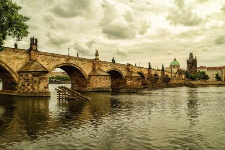 The Old Town with Charles Bridge over Vltava river in Prague, Czech Republic. Editorial
