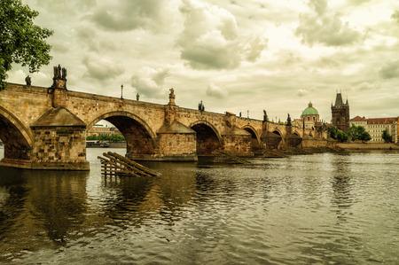 vltava: The Old Town with Charles Bridge over Vltava river in Prague, Czech Republic. Editorial