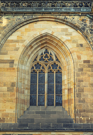 Details of window St. Vitus Cathedral in Prague, Czech republic.