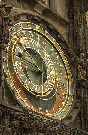 stare mesto: Astronomical Clock in Prague, Czech Republic. Europe. Stock Photo