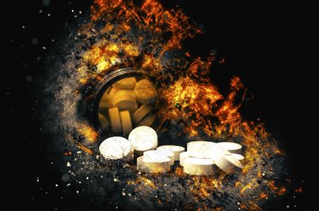 depressant: Round pills and pills bottle. Fire illustration.