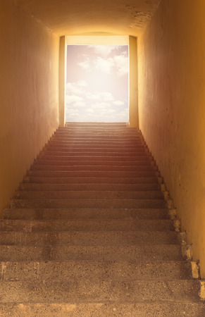 leading light: Heavens gate. Staircase leading to open door and sky. Light at the end of the tunnel.