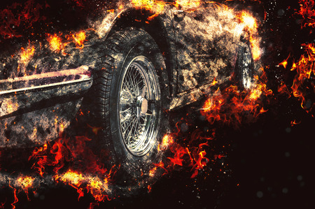 photorealism: Car in flames, fire illustration. Stock Photo