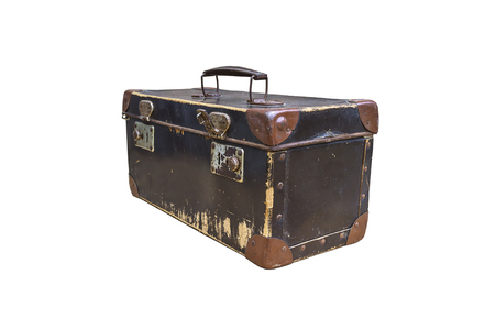 Vintage suitcase isolated on white background. Selective focus.