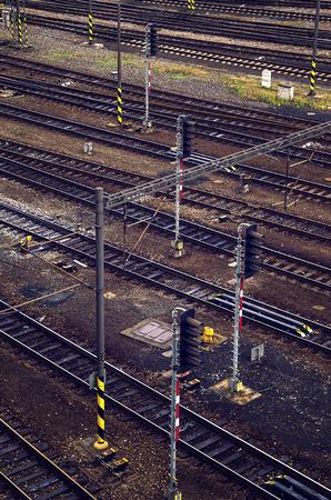 Rail track crossroads on near railway station. Stock Photo