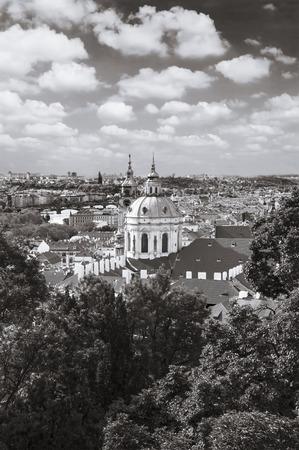 Town panorama and Malostranske namesti. Prague, Czech Republic. Stock Photo