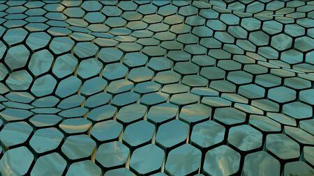 Green hexagon abstract