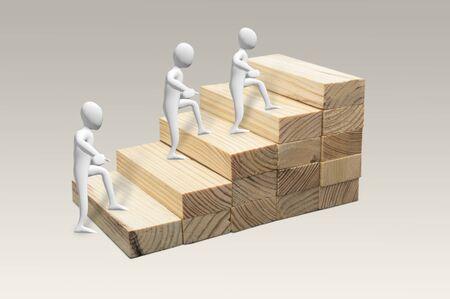 Figures humaines montant les escaliers. Concept de cheminement de carrière en échelle pour la croissance de l'entreprise, processus de réussite Banque d'images