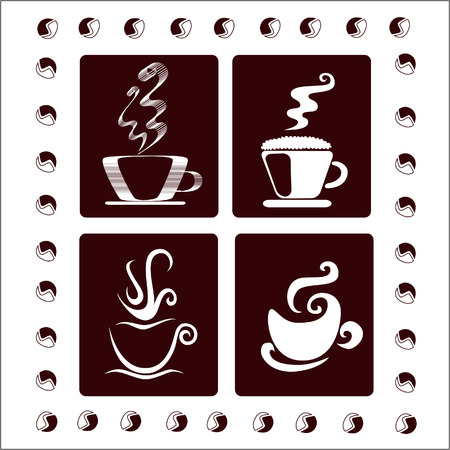 morning tea: A set of four coffee cups Illustration