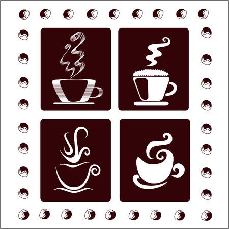 wei�er tee: Ein Satz von vier Tassen Kaffee Illustration