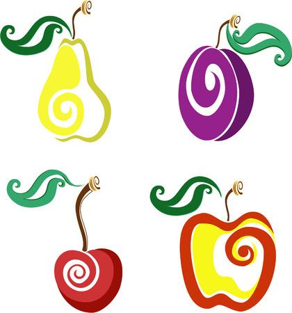 Een set van vier vruchten