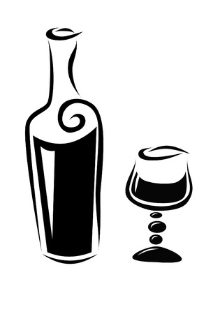 weingläser: Eine Flasche Wein und ein Glas