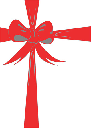 favor: Red bowknot as decoration for gift Illustration